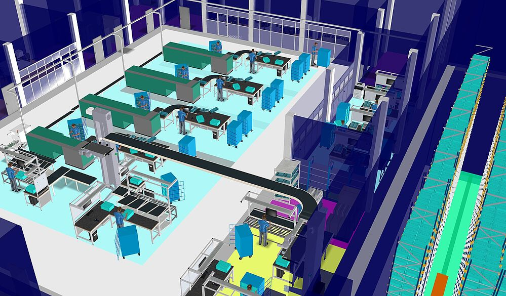 3D layout of cash processing area