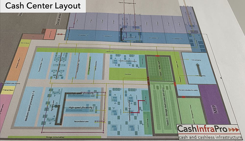 Visualization of cash center layout