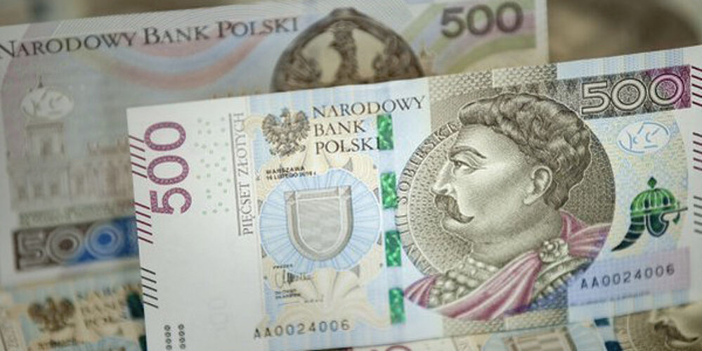 Banknote design of 500 Zloty note of NBP